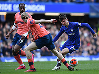 Football - 2019 / 2020 Premier League - Chelsea vs. Everton<br /> <br /> Chelsea's Mason Mount holds off the challenge from Everton's Tom Davies, at Stamford Bridge.<br /> <br /> COLORSPORT/ASHLEY WESTERN