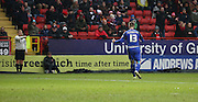 Cardiff City midfielder, Anthony Pilkington (13) questioning the linesmans decision during the Sky Bet Championship match between Charlton Athletic and Cardiff City at The Valley, London, England on 13 February 2016. Photo by Matthew Redman.