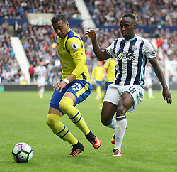 Ramiro Funes Mori of Everton (L) and Saido Berahino of West Bromwich Albion in action - Mandatory by-line: Jack Phillips/JMP - 20/08/2016 - FOOTBALL - The Hawthorns - West Bromwich, England - West Bromwich Albion v Everton - Premier League
