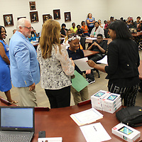 RAY VAN DUSEN/BUY AT PHOTOS.MONROECOUNTYJOURNAL.COM<br /> Kiera Harrison accepts her certificate for reaching Level 5 status at Aberdeen Elementary School through last school year's Mississippi Academic Assessment Program results. Level 5 students from AES and Belle-Shivers Middle School were honored during last week's Aberdeen School Board meeting.