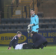 Jim McAlister gets treatment from Dundee physio Karen Gibson after a knock - Dundee  v Queen of the South - SPFL Championship at Dens Park<br /> <br />  - &copy; David Young - www.davidyoungphoto.co.uk - email: davidyoungphoto@gmail.com