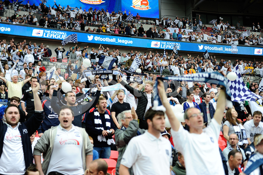 Preston North End supporters before the Sky Bet League 1 Play-Off Final match between Preston North End and Swindon Town at Wembley Stadium, London, England on 24 May 2015. Photo by Salvio Calabrese.