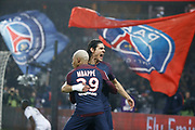 Edinson Roberto Paulo Cavani Gomez (psg) (El Matador) (El Botija) (Florestan) scored a goal from the ball passed by Kylian Mbappe (PSG), celebration, during the French Championship Ligue 1 football match between Paris Saint-Germain and SM Caen on December 20, 2017 at Parc des Princes stadium in Paris, France - Photo Stephane Allaman / ProSportsImages / DPPI
