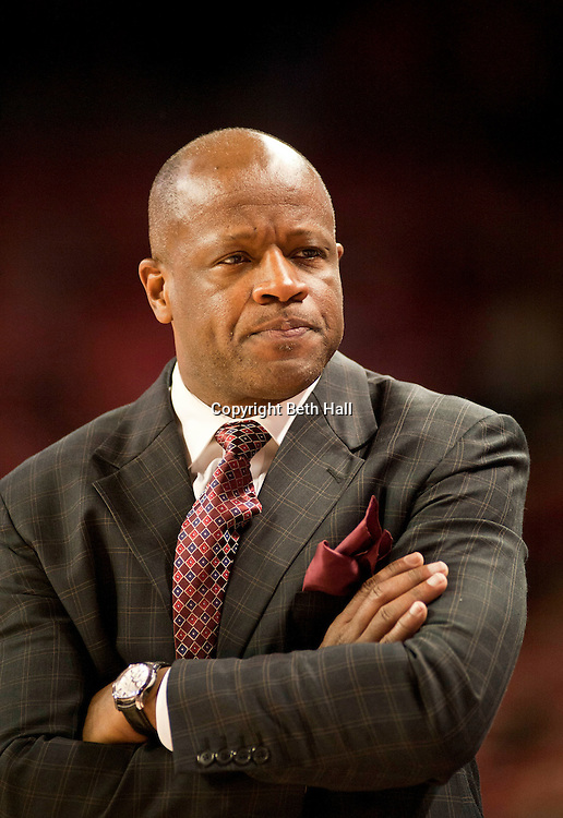 Jan 3, 2012; Fayetteville, AR, USA; Arkansas Razorbacks head coach Mike Anderson reacts to a play during a game against the Savannah State Tigers at Bud Walton Arena. Arkansas defeated Savannah State 83-66. Mandatory Credit: Beth Hall-US PRESSWIRE