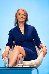 © Licensed to London News Pictures. 29/09/2019. Manchester, UK. International Trade Minister Elizabeth Truss on first day of the Conservative Party Conference at Manchester Central in Manchester. Photo credit: Andrew McCaren/LNP