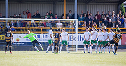 Alloa Athletic's Iain Flannigan scoring their second goal.<br /> Alloa Athletic 2 v 1 Hibernian, Scottish Championship game played 30/8/2014 at Alloa Athletic's home ground, Recreation Park, Alloa.