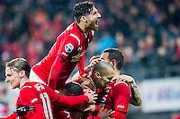 ALKMAAR - 20-02-2016, AZ - FC Groningen, AFAS Stadion, 4-1, AZ speler Ron Vlaar heeft de 2-0 gescoord, AZ speler Alireza Jahanbakhsh, AZ speler Ben Rienstra, juichen, juicht.