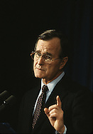 Vice President George HW Bush speaks in  February `1982...Photograph by Dennis Brack bB22