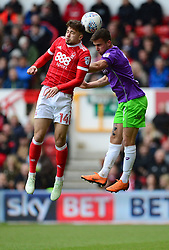 Joe Bryan of Bristol City Battles for the ball with Matty Cash of Nottingham Forest. - Mandatory by-line: Alex James/JMP - 28/04/2018 - FOOTBALL - The City Ground - Nottingham, England - Nottingham Forest v Bristol City - Sky Bet Championship