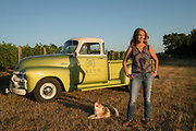 Janis Pate with her dog Cooper, Arlyn Vineyard, Chehalem Mountains AVA, Willamette Valley, Oregon