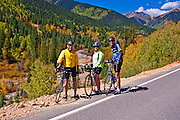 Cyclists on the San Juan Skyway (Highway 550), San Juan National Forest, Colorado