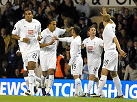 Photo: Ed Godden/Sportsbeat Images.<br /> Tottenham Hotspur v Anorthosis Famagusta. UEFA Cup, First Leg. 20/09/2007. Spurs' Younes Kaboul (2nd left), celebrates his opening goal.