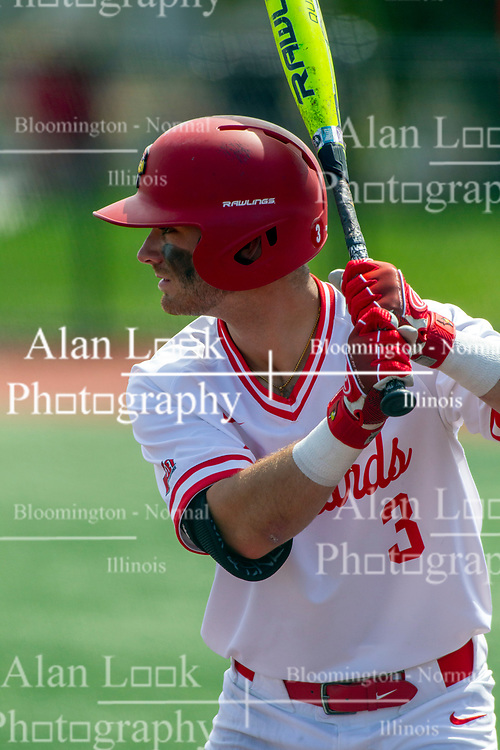 NORMAL, IL - May 01: John Rave during a college baseball game between the ISU Redbirds and the Indiana State Sycamores on May 01 2019 at Duffy Bass Field in Normal, IL. (Photo by Alan Look)