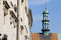 Market Square Building Facades and St Mary's Basilica in Krakow Poland