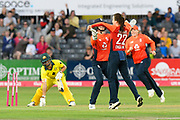 Wicket - Mady Villiers of England celebrates taking the wicket of Ashleigh Gardner of Australia during the 3rd Vitality International T20 match between England Women Cricket and Australia Women at the Bristol County Ground, Bristol, United Kingdom on 31 July 2019.
