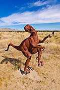 Metal raptor sculptures by Ricardo Breceda at Galleta Meadows Estate, Borrego Springs, California USA
