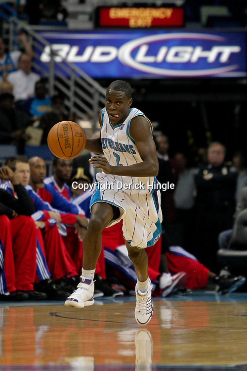 Nov 17, 2009; New Orleans, LA, USA; New Orleans Hornets guard Darren Collison (2) drives with the ball in the first half against the Los Angeles Clippers at the New Orleans Arena. The Hornets defeated the Clippers 110-102. Mandatory Credit: Derick E. Hingle-US PRESSWIRE