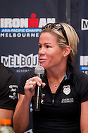 Mirinda Carfrae (AUS). Official Pre-Race Press Conference. 2012 Ironman Melbourne. Asia-Pacific Championship. Hosted By USM Events. 22/03/2012. Photo By Lucas Wroe.