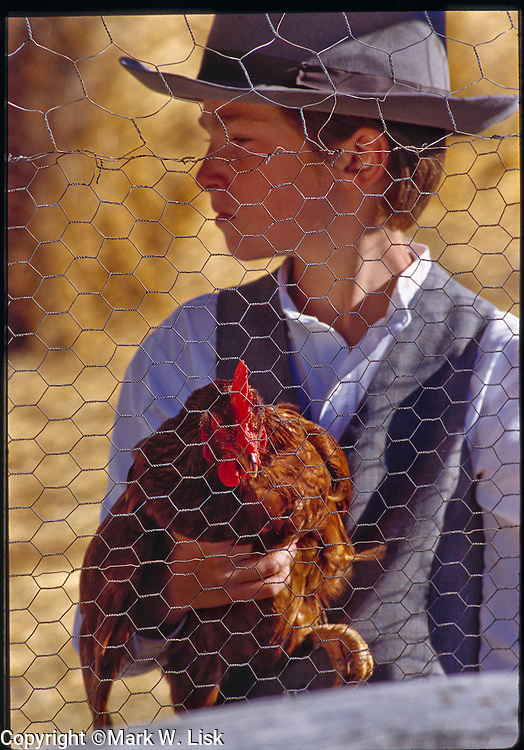 (MR) A red haired boy holds a red chicken.