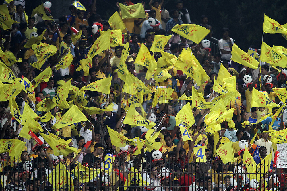 Fans during the final of the Indian Premier League ( IPL ) Season 4 between the Chennai Superkings and the Royal Challengers Bangalore held at the MA Chidambaram Stadium in Chennai, Tamil Nadu, India on the 28th April 2011..Photo by Shaun Roy/BCCI/SPORTZPICS
