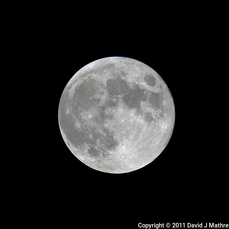 Late Spring Full Moon over New Jersey. Image taken with a Nikon D3x and 600 mm f/4 VR lens (ISO 100, 600 mm, f/8, 1/100 sec) on a Gitzo tripod and Wimberley Head. Raw image processed with Capture One Pro, Focus Magic, and Photoshop CS5