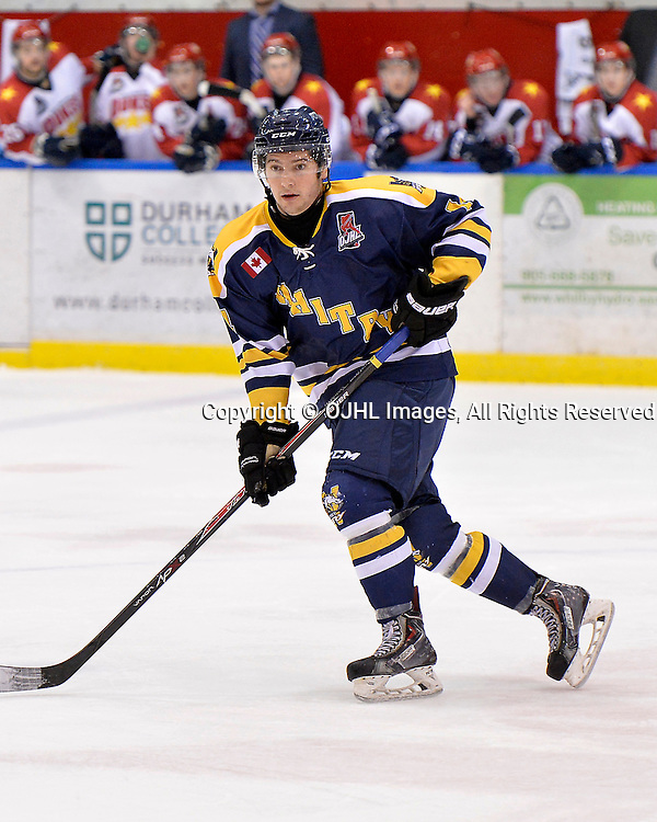 WHITBY, ON - Oct 4, 2015 : Ontario Junior Hockey League game action between Wellington and Whitby, Otis Goldman #14 of the Whitby Fury during the second period.<br /> (Photo by Shawn Muir / OJHL Images)