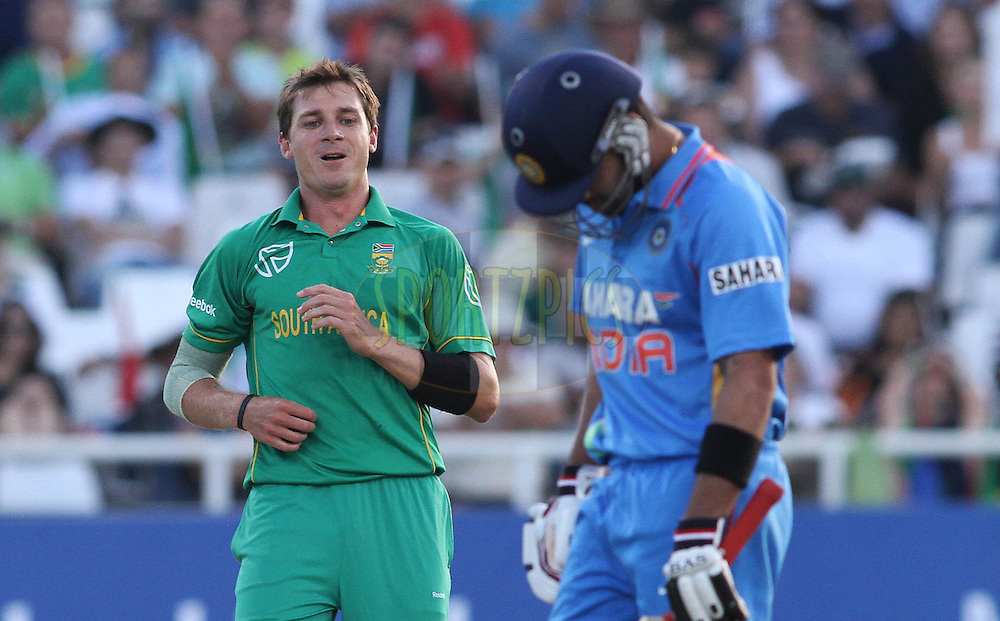 Dale Steyn of South Africa looks at Virat Kohli of India after a bouncer during the 3nd ODI between South Africa and India held at Sahara Park Newlands Stadium in Cape Town, Western Cape, South Africa on the 18th January 2011..Photo by Shaun Roy/BCCI/Sportzpics