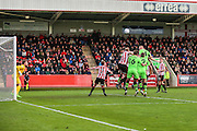 Forest Green Rovers Charlie Clough heads towards goal during the Vanarama National League match between Cheltenham Town and Forest Green Rovers at Whaddon Road, Cheltenham, England on 21 November 2015. Photo by Shane Healey.