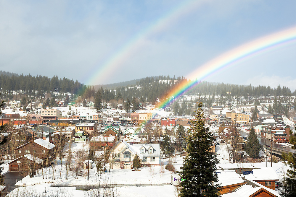 """Double Rainbow Above Downtown Truckee"" - Photograph of an intense double rainbow above a snowy historic Downtown Truckee, California."