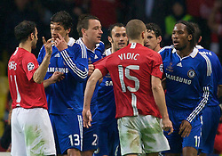 MOSCOW, RUSSIA - Wednesday, May 21, 2008: Manchester United's Nemanja Vidic fights with Chelsea's Didier Drogba players fight during the UEFA Champions League Final at the Luzhniki Stadium. (Photo by David Rawcliffe/Propaganda)