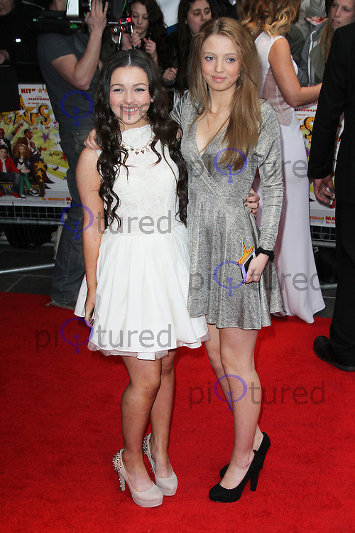 Fleur Houdijk; Amelia Clarkson, All Stars UK Film Premiere, Vue West End cinema Leicester Square, London UK, 22 April 2013, (Photo by Richard Goldschmidt)