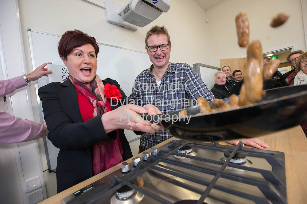 Repro Free no charge for Repro<br /> <br /> 15-1-15<br /> <br /> River Cottage star to open new School of Food in Thomastown, Co Kilkenny<br /> <br /> One of the inspirations behind the world famous River Cottage restaurant, cookery school and TV series, Steven Lamb, and Kilkenny native Minister for Rural Development Ann Phelan TD officially opened the pioneering new School of Food in Thomastown, Co. Kilkenny, today (January 15th 2015).<br /> <br /> Pictured is Minister for Rural Development Ann Phelan TD and River Cottage Star Steven Lamb.<br /> <br /> Lamb is known to millions of TV viewers for his role in promoting the famous River Cottage food ethos in the UK which has helped change the eating habits of a nation and improve the welfare and sustainability of animals and fish.<br /> <br /> The inspiring food expert &ndash; who recently published the River Cottage Curing &amp; Smoking Handbook - cut the ribbon on the new School of Food which will train the next generation of Ireland&rsquo;s professional and amateur chefs.<br />  <br /> The school, part of the Town of Food project, is a significant and exciting step towards the development of Thomastown as a major food hub in Ireland.  The school is based in a new food campus which will also include a community garden and a food business incubation centre.<br />  <br /> Town of Food is a community led initiative, supported by LEADER, and aimed at promoting Kilkenny as a food destination. Its mission is to support the production and promotion of local, quality food as well as developing a top class national educational food centre.<br /> The new School of Food will provide a wide variety of evening, half day, full day courses as well as ongoing part time training programmes. Starting from January 19th the courses include:<br /> -  Chef apprenticeship training<br /> -  Artisan training courses<br /> -  School food education programmes for secondary school students and teachers<br /> -  A wide variety of public classes covering food, lifestyle and wellbeing topics.<br /> Some of the public classes on offer for 2015 include sports nutrition, vegetarian cooking,