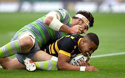 Marcus Watson of Wasps scores a try - Mandatory by-line: Robbie Stephenson/JMP - 28/07/2017 - RUGBY - Franklin's Gardens - Northampton, England - Wasps v Newcastle Falcons - Singha Premiership Rugby 7s