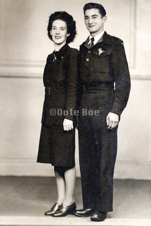 couple in uniform studio portrait ca 1950s