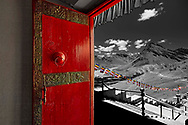 Kye Monastery Door and Himalayan Mountains, Spiti Valley, India