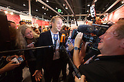 Frankfurt Book Fair 2014, biggest of its kind in the World.<br /> Carl Hanser Verlag Director Jo Lendle comments to the Media about the  Nobel Price for Literature 2014 going to their author Patrick Modiano, minutes after it had been declared.