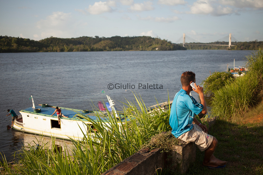 Border Brazil - French Guiana seen from the town of Oiapoque, on the Brazilian side of the border