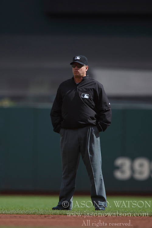 SAN FRANCISCO, CA - OCTOBER 02: MLB umpire Andy Fletcher #49 stands on the field during the first inning between the San Francisco Giants and the Los Angeles Dodgers at AT&T Park on October 2, 2016 in San Francisco, California. The San Francisco Giants defeated the Los Angeles Dodgers 7-1. (Photo by Jason O. Watson/Getty Images) *** Local Caption *** Andy Fletcher