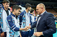 Katowice, Poland - 2017 September 03: (R) Andrzej Mysliwiec from Special Olympics Poland with SO Azerbaijan while Awarding Ceremony during European Unified Volleyball Tournament 2017 at Spodek Hall on September 03, 2017 in Katowice, Poland.<br /> <br /> Adam Nurkiewicz declares that he has no rights to the image of people at the photographs of his authorship.<br /> <br /> Picture also available in RAW (NEF) or TIFF format on special request.<br /> <br /> Any editorial, commercial or promotional use requires written permission from the author of image.<br /> <br /> Image can be used in the press when the method of use and the signature does not hurt people on the picture.<br /> <br /> Mandatory credit:<br /> Photo by © Adam Nurkiewicz / Mediasport