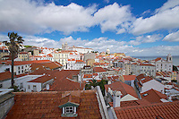 City view of Lisbon with many colourful buildings and rooftops.