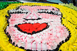"Houston, Texas:  Peeps -- those ubiquitous Easter candies -- form a mural on the hood of the ""Peep Jeep,"" one of the bizarre entries in the 2007 Art Car Parade down Allen Parkway."