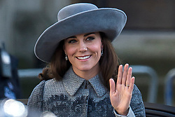 © Licensed to London News Pictures. 14/03/2016. London, UK. CATHERINE, Duchess of Cambridge arrives at Westminster Abbey in London to attend a service to mark Commonwealth Day 2016.  Photo credit: Ben Cawthra/LNP
