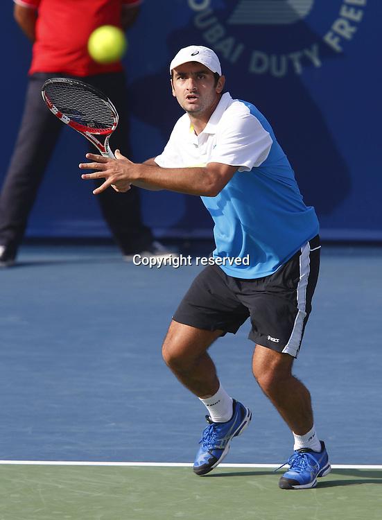 25.02.2013. Dubai, United Arab Emirates.   Dubai Tennis Championships 2013 ATP Tennis Mens tournament, Dubai Stadium. Florent Serra FRA