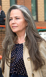 Koo Stark leaving West London Magistrates Court after an alleged theft of a painting worth £31,000 belonging to former partner Warren Walker. Photo by i-Images.