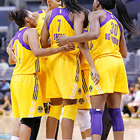 17 June 2014: Los Angeles Sparks forward/center Sandrine Gruda (7) gathers with her teammates next to Los Angeles Sparks forward Nneka Ogwumike (30) during the Minnesota Lynx  94-77 victory over the Los Angeles Sparks, at the Staples Center, Los Angeles, California, USA.