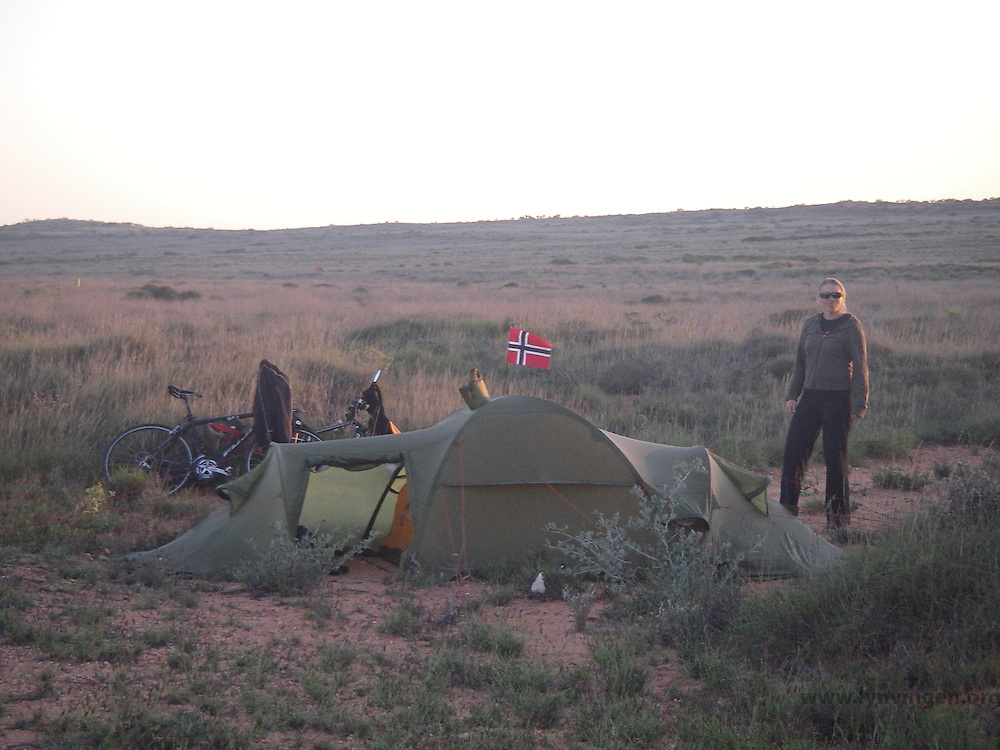 Tent camp and Norwegian flag in the Australian desert