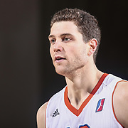 Westchester Knicks Guard JIMMER FREDETTE (16) walks onto the floor in the first half of a NBA D-league regular season finale between the Delaware 87ers and the Westchester Knicks Friday, Apr. 01, 2016, at The Bob Carpenter Sports Convocation Center in Newark, DEL.<br /> <br /> The Westchester Knicks will open up post season play verses the sioux skyforce Tuesday, Apr 5, 2016, at The Westchester County Center in White Plains, NY.
