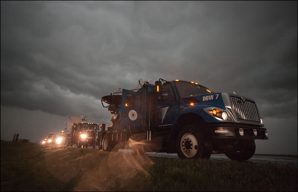 DOW 7 (Doppler-on-Wheels sits underneath an ominous shelf cloud on the leading edge of a thunderstorm.