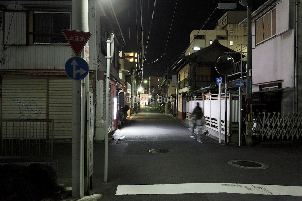 night street view in a residential neighborhood Yokosuka Japan