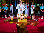 """23 DECEMBER 2018 - CHANTABURI, THAILAND: A doll representing the baby Jesus on the altar at the Cathedral of the Immaculate Conception's Christmas Fair in Chantaburi. Cathedral of the Immaculate Conception is holding its annual Christmas festival, this year called """"Sweet Christmas @ Chantaburi 2018"""". The Cathedral is the largest Catholic church in Thailand and was founded more than 300 years ago by Vietnamese Catholics who settled in Thailand, then Siam.  PHOTO BY JACK KURTZ"""
